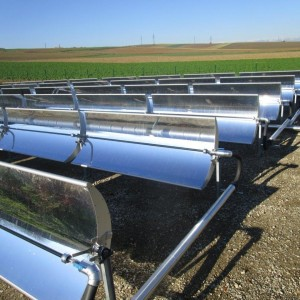 View of parabolic trough arrays